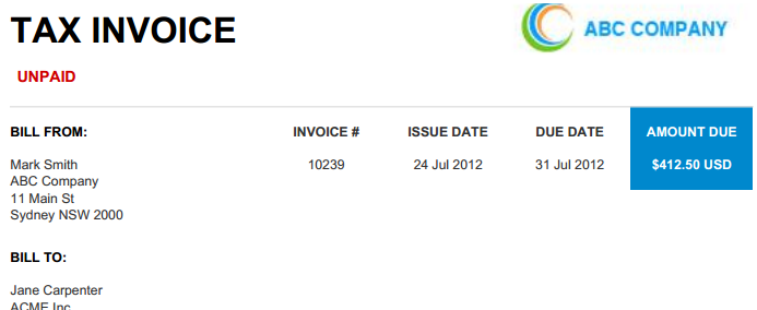 Freelancer invoice for external clients