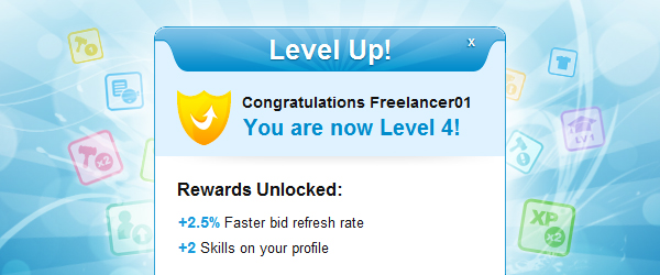 Freelancer Gamification Level Up